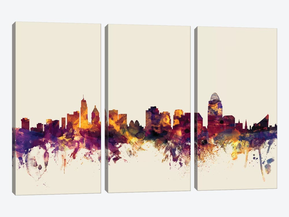 Skyline Series: Cincinnati, Ohio, USA On Beige by Michael Tompsett 3-piece Art Print