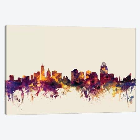 Cincinnati, Ohio, USA On Beige Canvas Print #MTO236} by Michael Tompsett Art Print