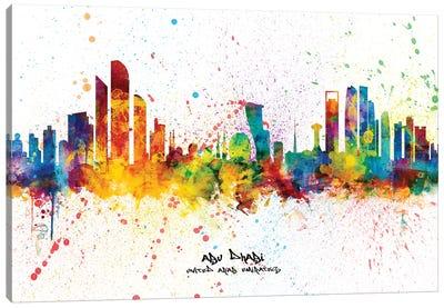 Abu Dhabi Skyline Splash Canvas Art Print