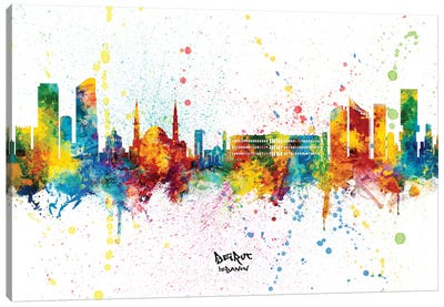 Beirut Lebanon Skyline Splash Canvas Art Print