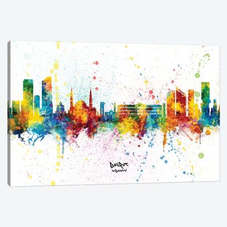 Beirut Lebanon Skyline Splash Canvas Print #MTO2373} by Michael Tompsett Canvas Artwork