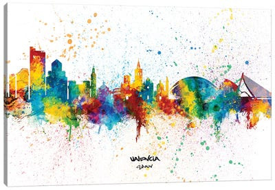 Valencia Spain Skyline Splash Canvas Art Print