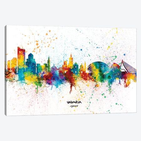 Valencia Spain Skyline Splash Canvas Print #MTO2374} by Michael Tompsett Art Print