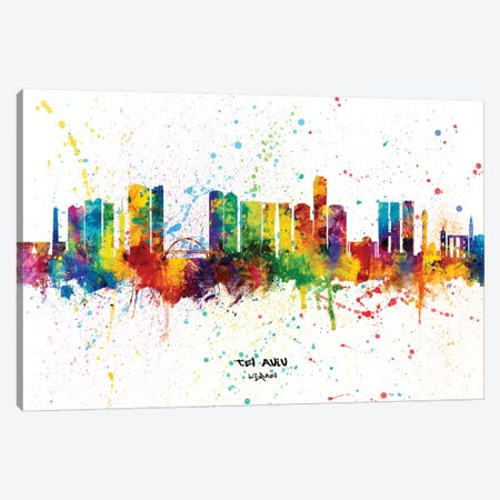 Tel Aviv Israel Skyline Splash Canvas Print #MTO2375} by Michael Tompsett Canvas Art Print