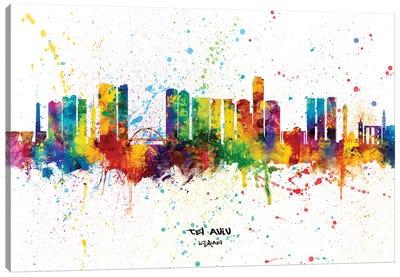 Tel Aviv Israel Skyline Splash Canvas Art Print