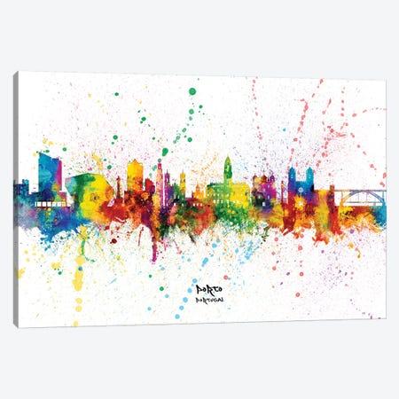 Porto Portugal Skyline Splash Canvas Print #MTO2378} by Michael Tompsett Canvas Wall Art