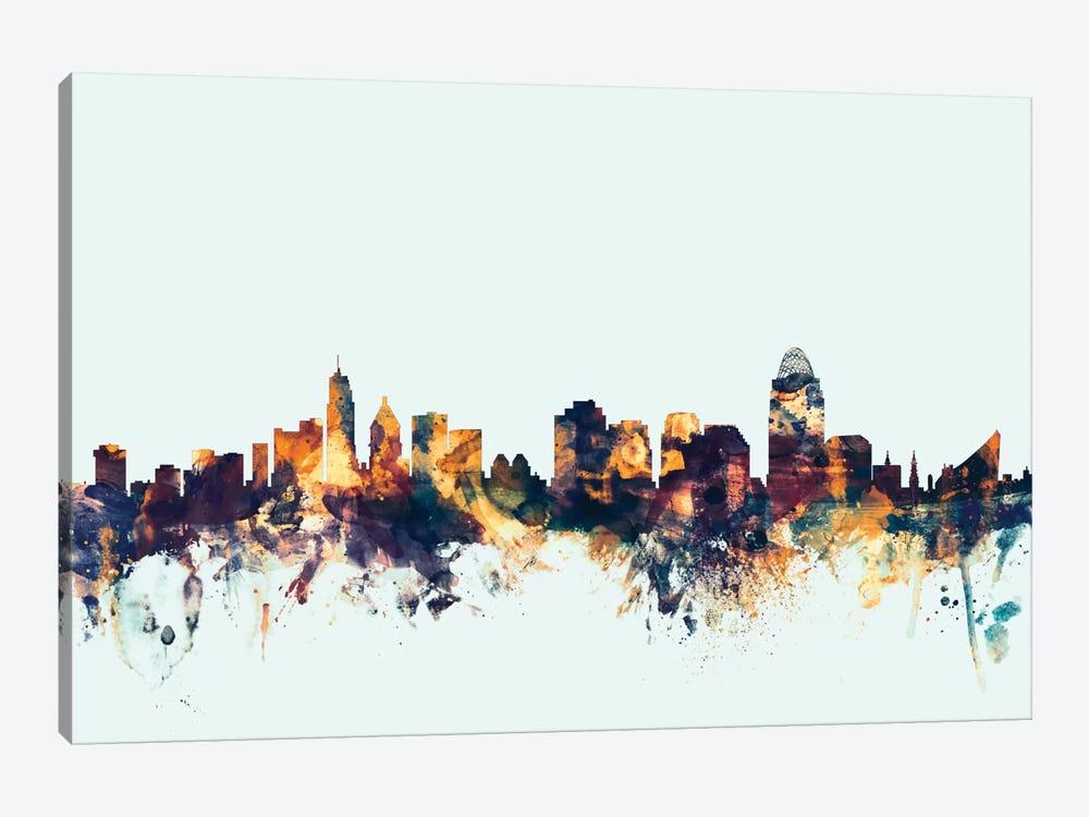 Cincinnati, Ohio, USA On Blue by Michael Tompsett 1-piece Canvas Art