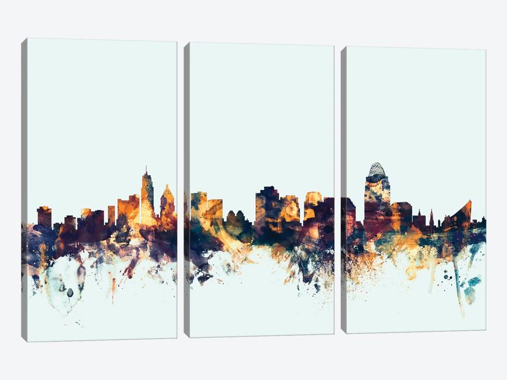 Cincinnati, Ohio, USA On Blue by Michael Tompsett 3-piece Canvas Artwork
