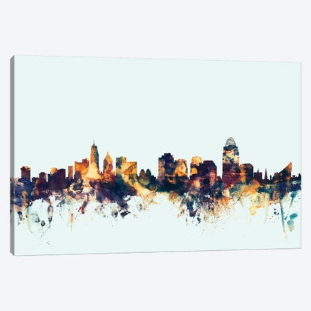 Cincinnati, Ohio, USA On Blue Canvas Print #MTO237} by Michael Tompsett Canvas Print