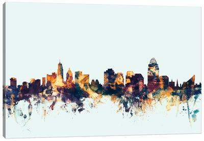 Skyline Series: Cincinnati, Ohio, USA On Blue Canvas Print #MTO237