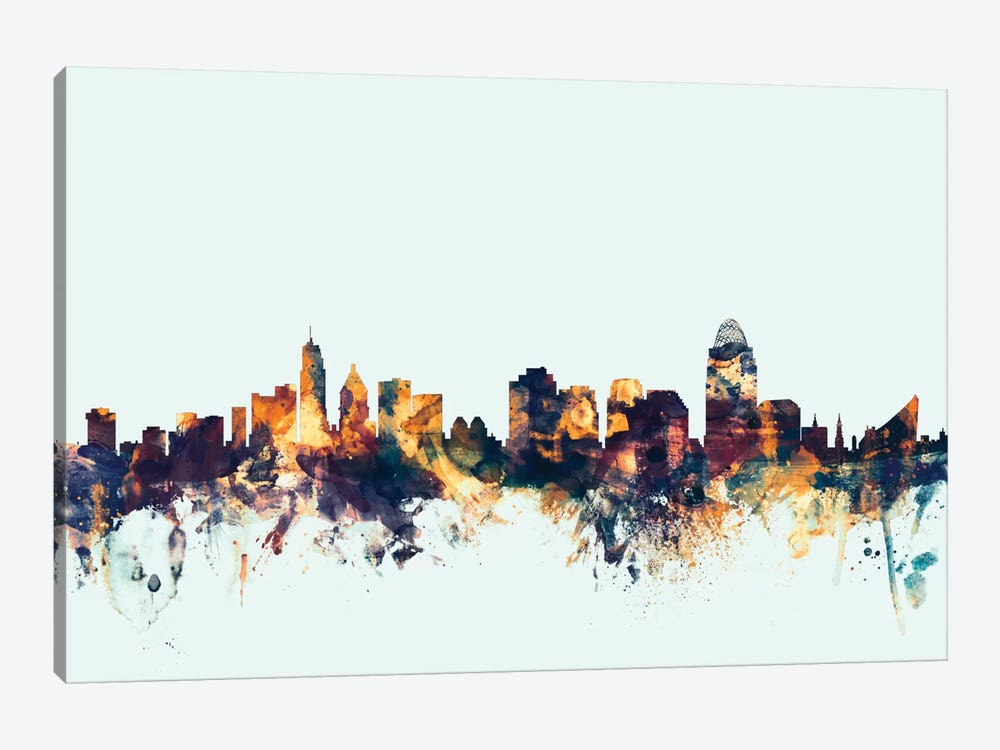 Skyline Series: Cincinnati, Ohio, USA On Blue by Michael Tompsett 1-piece Canvas Art
