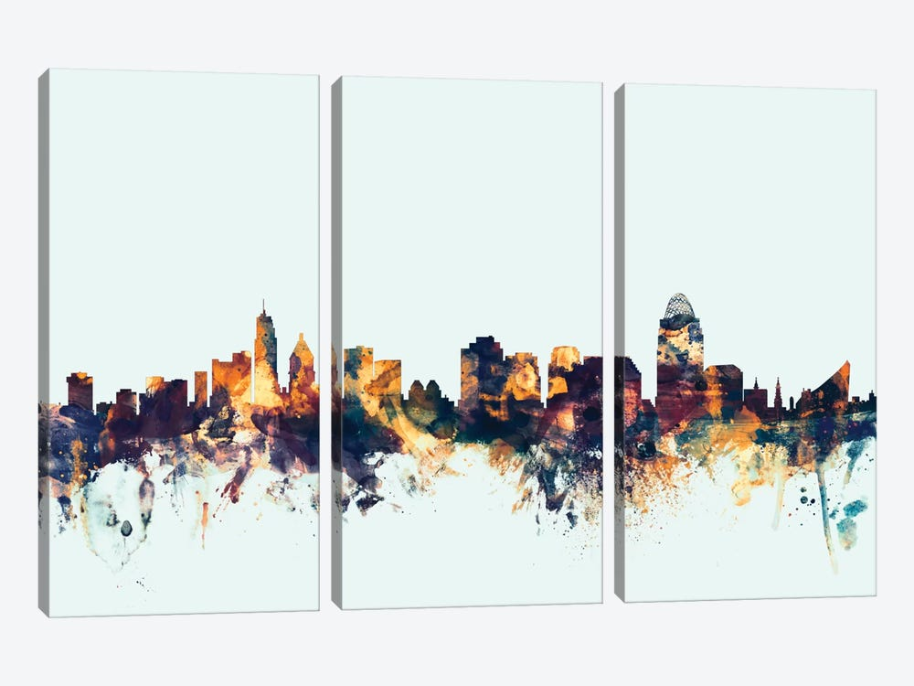 Skyline Series: Cincinnati, Ohio, USA On Blue by Michael Tompsett 3-piece Canvas Artwork