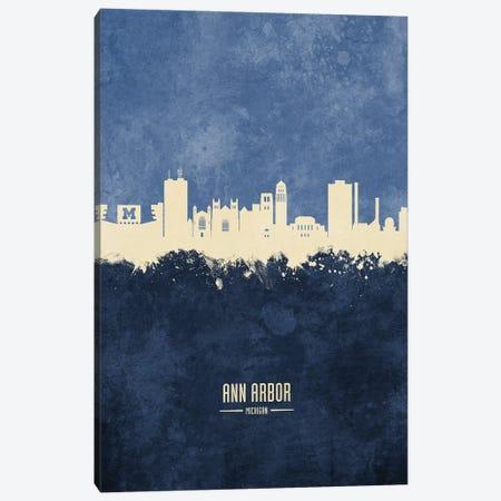 Ann Arbor Michigan Skyline Navy Canvas Print #MTO2380} by Michael Tompsett Canvas Print