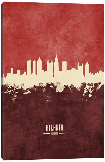 Atlanta Georgia Skyline Burgandy Canvas Art Print