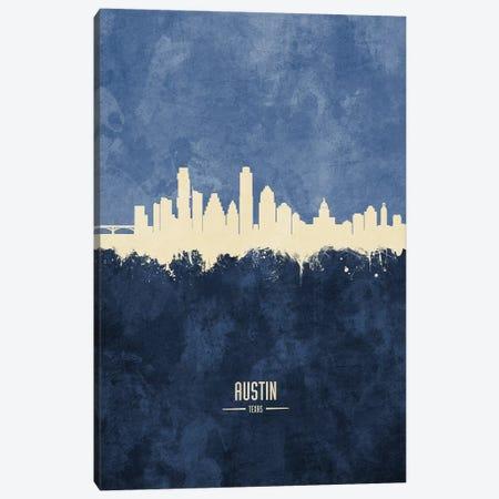 Austin Texas Skyline Navy Canvas Print #MTO2389} by Michael Tompsett Canvas Print