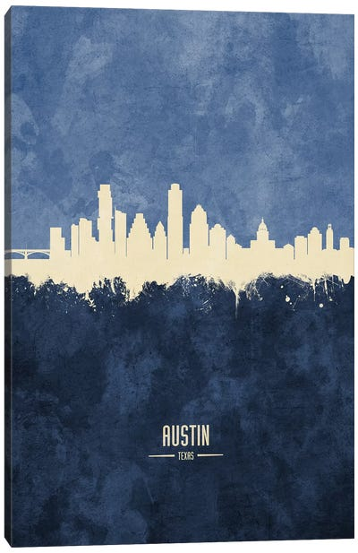 Austin Texas Skyline Navy Canvas Art Print