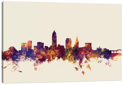Cleveland, Ohio, USA On Beige Canvas Art Print
