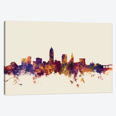 Cleveland, Ohio, USA On Beige Canvas Print #MTO238} by Michael Tompsett Canvas Artwork