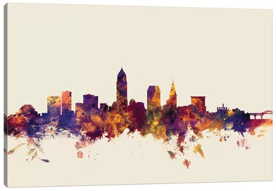Skyline Series: Cleveland, Ohio, USA On Beige Canvas Art Print