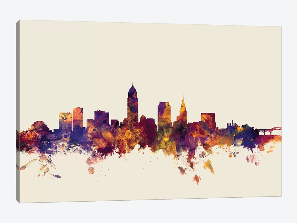Cleveland, Ohio, USA On Beige by Michael Tompsett 1-piece Canvas Print