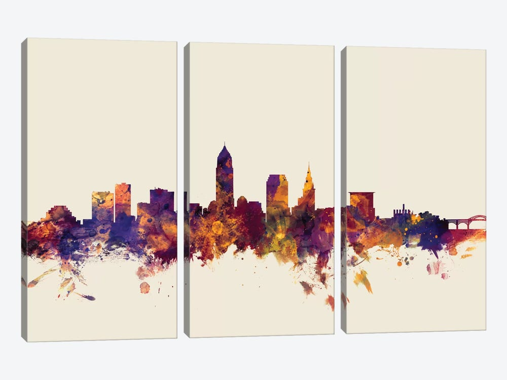 Cleveland, Ohio, USA On Beige by Michael Tompsett 3-piece Canvas Art Print