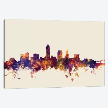 Cleveland, Ohio, USA On Beige Canvas Print #MTO238} by Michael Tompsett Canvas Artwork