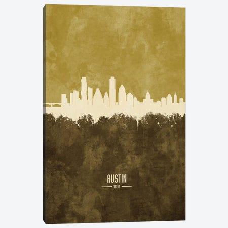 Austin Texas Skyline Ochre Canvas Print #MTO2390} by Michael Tompsett Canvas Art
