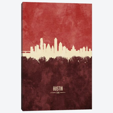 Austin Texas Skyline Burgandy Canvas Print #MTO2391} by Michael Tompsett Canvas Art