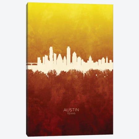 Austin Texas Skyline Red Gold Canvas Print #MTO2394} by Michael Tompsett Art Print