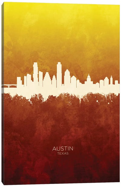 Austin Texas Skyline Red Gold Canvas Art Print