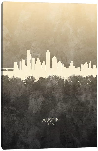 Austin Texas Skyline Taupe Canvas Art Print