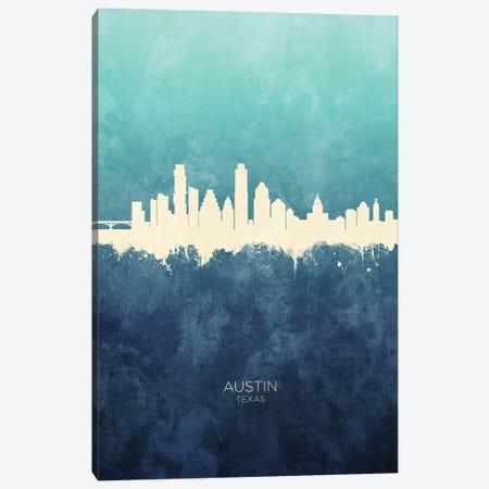 Austin Texas Skyline Navy Cyan Canvas Print #MTO2396} by Michael Tompsett Canvas Art Print