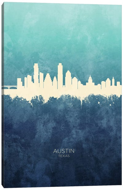 Austin Texas Skyline Navy Cyan Canvas Art Print