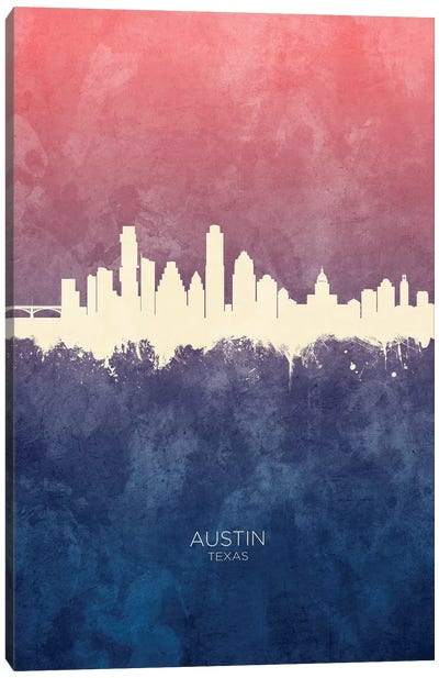 Austin Texas Skyline Blue Rose Canvas Art Print