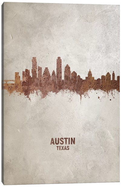 Austin Texas Skyline Rust Canvas Art Print
