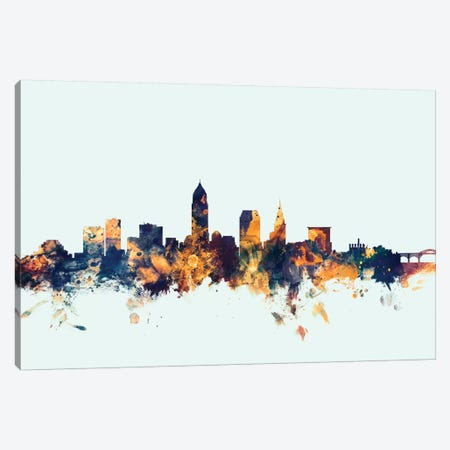 Cleveland, Ohio, USA On Blue Canvas Print #MTO239} by Michael Tompsett Canvas Wall Art