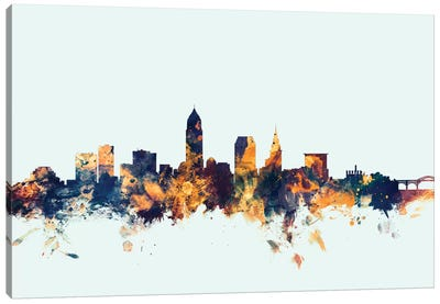 Skyline Series: Cleveland, Ohio, USA On Blue Canvas Art Print