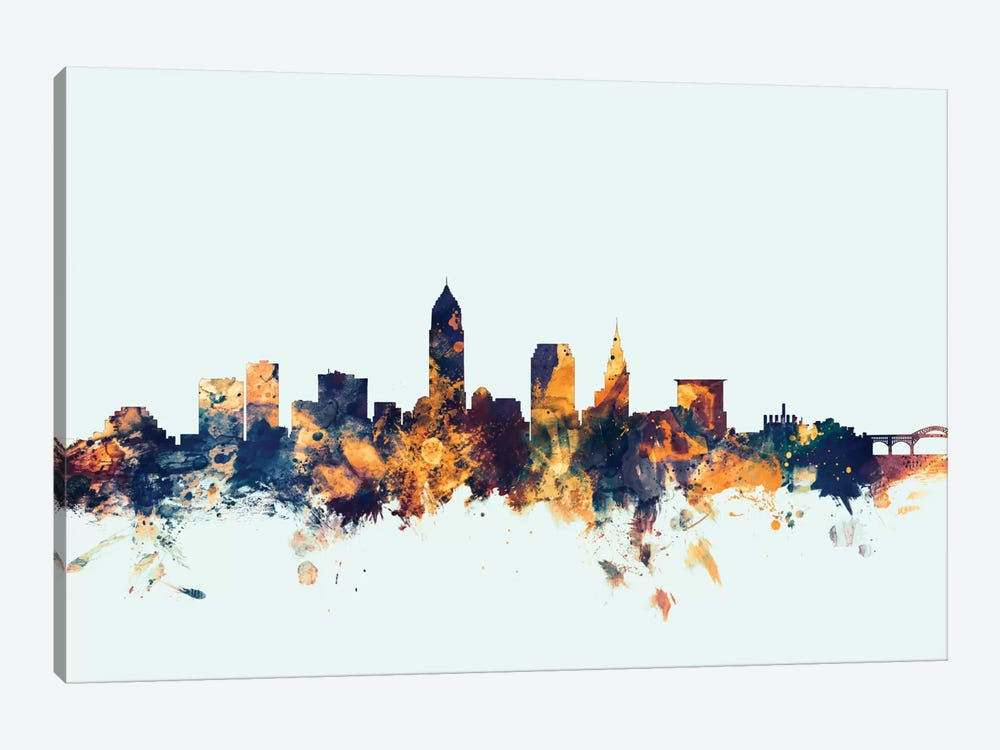 Skyline Series: Cleveland, Ohio, USA On Blue by Michael Tompsett 1-piece Canvas Art