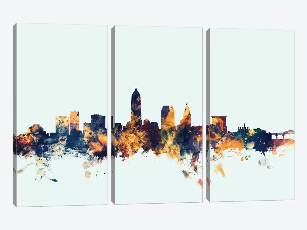 Skyline Series: Cleveland, Ohio, USA On Blue by Michael Tompsett 3-piece Canvas Wall Art
