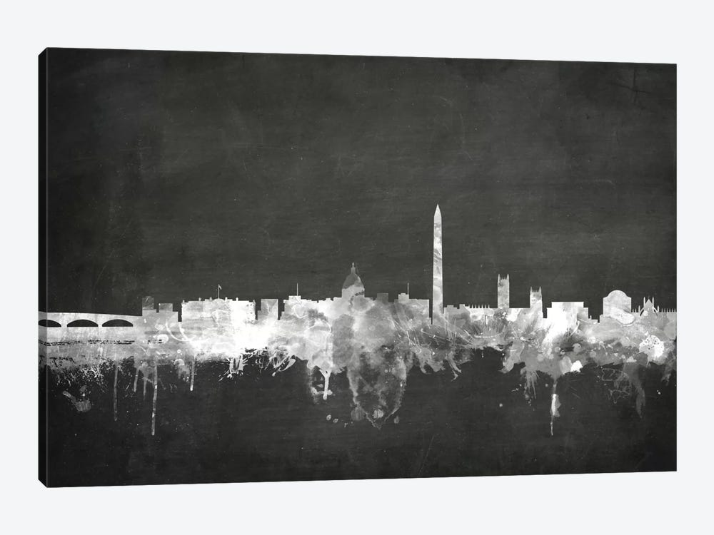 Blackboard Skyline Series: Washington, D.C., USA by Michael Tompsett 1-piece Canvas Wall Art