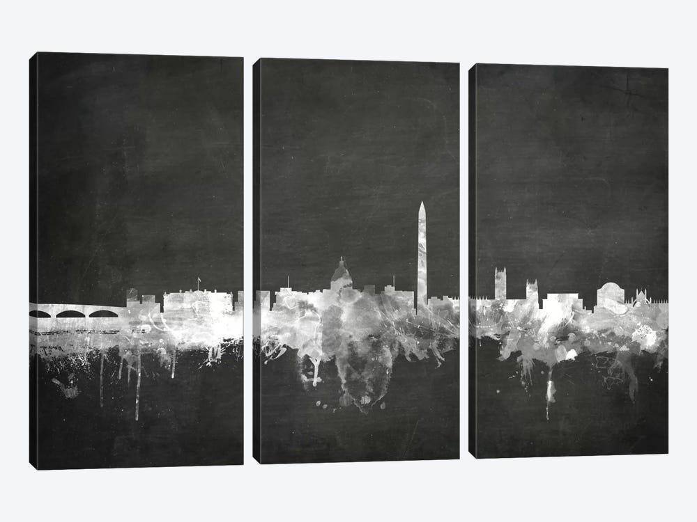 Blackboard Skyline Series: Washington, D.C., USA by Michael Tompsett 3-piece Canvas Art