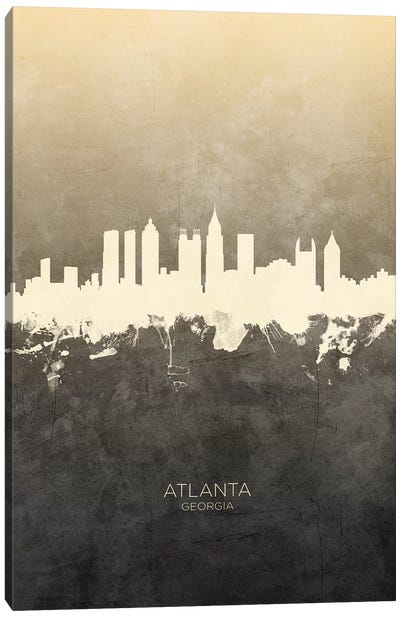Atlanta Georgia Skyline Taupe Canvas Art Print