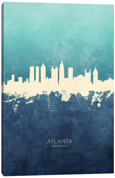 Atlanta Georgia Skyline Navy Cyan Canvas Art Print