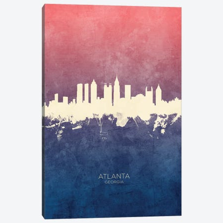 Atlanta Georgia Skyline Blue Rose Canvas Print #MTO2403} by Michael Tompsett Canvas Wall Art