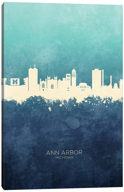 Ann Arbor Michigan Skyline Navy Cyan Canvas Art Print