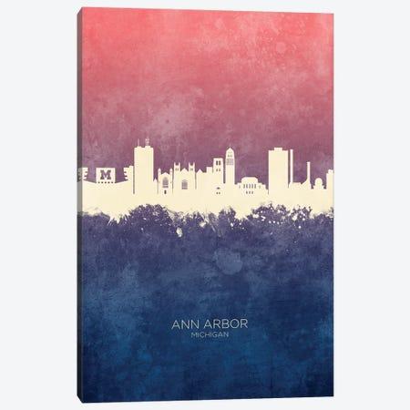 Ann Arbor Michigan Skyline Blue Rose Canvas Print #MTO2408} by Michael Tompsett Canvas Wall Art