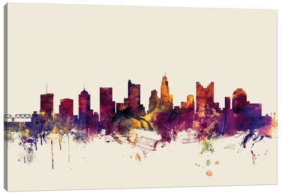 Skyline Series: Columbus, Ohio, USA On Beige Canvas Print #MTO240