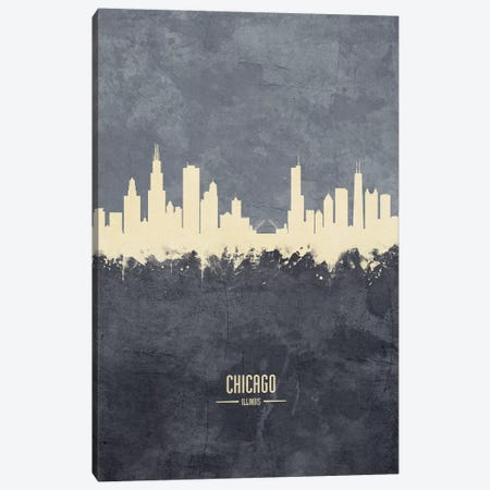 Chicago Illinois Skyline Grey Canvas Print #MTO2410} by Michael Tompsett Canvas Print