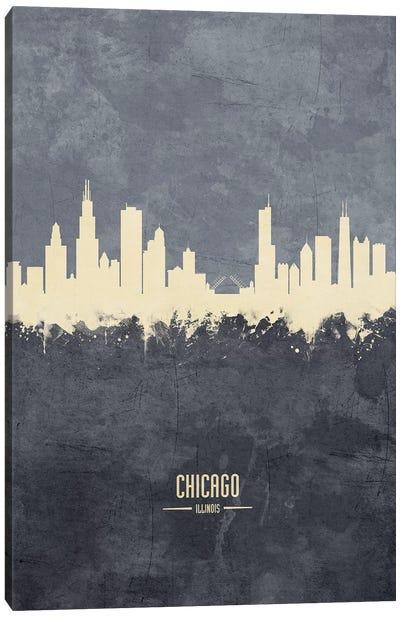 Chicago Illinois Skyline Grey Canvas Art Print
