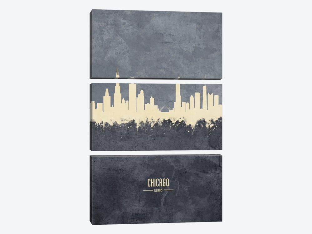 Chicago Illinois Skyline Grey by Michael Tompsett 3-piece Canvas Art Print